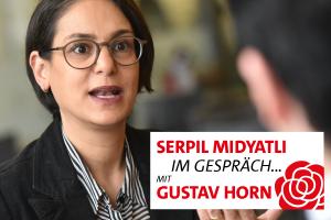 Serpil Midyatli im Gesrpäch mit Gustav Horn